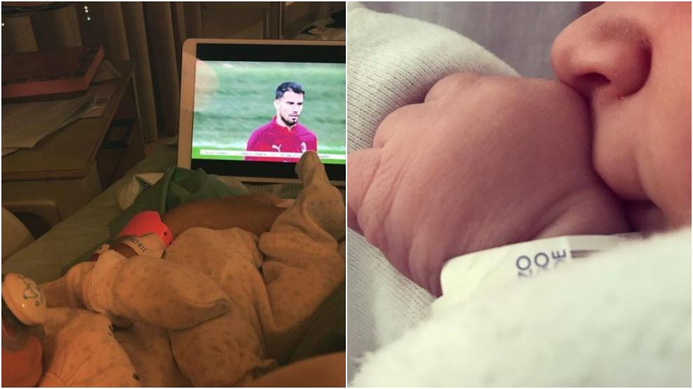 A la izquierda, una imagen de Alessio, el hijo de Suso. A la derecha, Jaden, el retoño de Jonny.