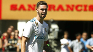 Manu Hernando, con el Real Madrid en el amistoso ante el United de...