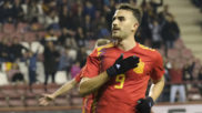 Borja Mayoral celebra un gol en Logroño