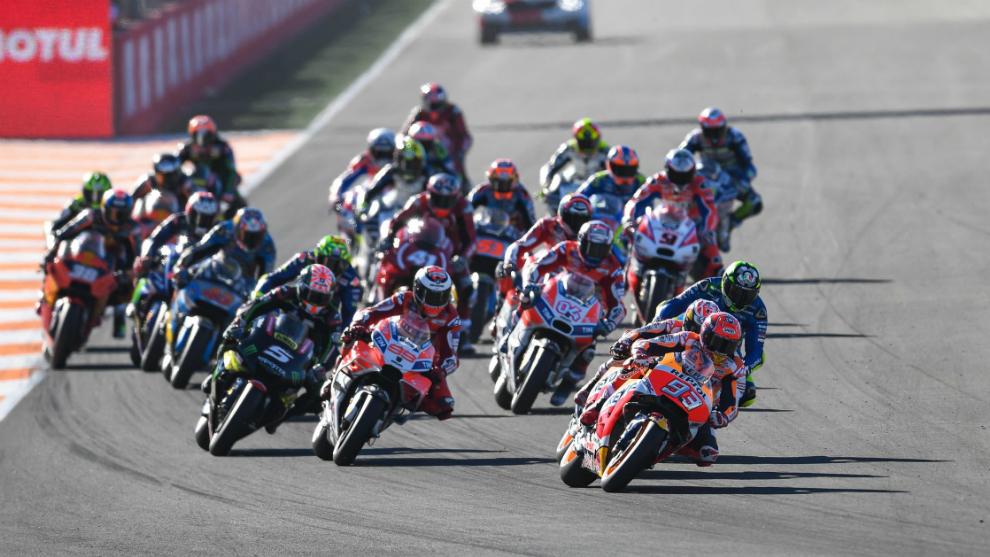Salida del Gran Premio de Valencia 2017