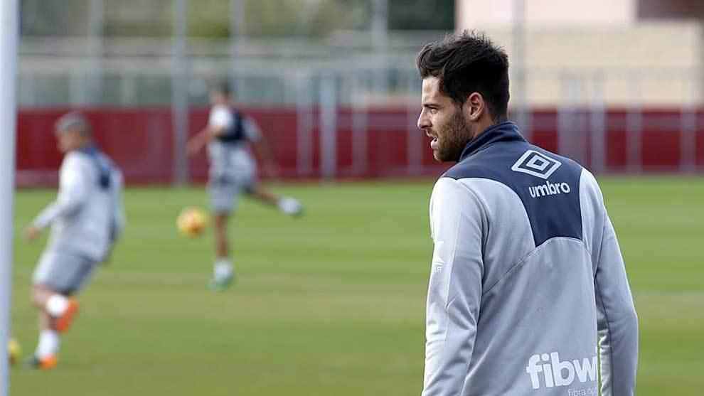 Álex López, en un entrenamiento reciente del Mallorca