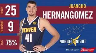Los numerazos de Juancho Hernangómez en el triunfo de los Nuggets...