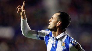 Juanmi celebra su tanto del pasado viernes contra el Levante.