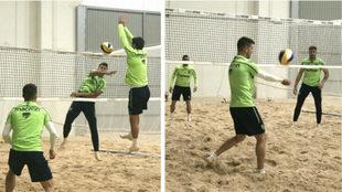 La plantilla del Levante jugando al volley en la sesíón de este...