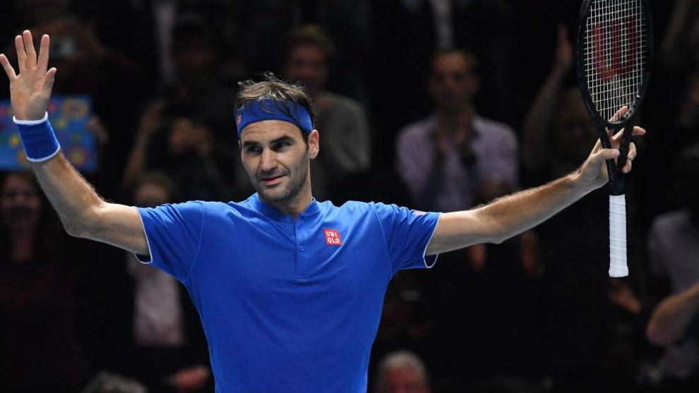 Federer, tras vencer a Anderson ayer.