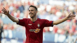 Kike Barja celebra su gol al Córdoba.