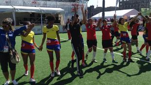 Colombia festeja su triunfo ante Egipto