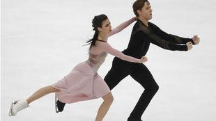 Sara Hurtado y Kirill Jalyavin, durante el ejercicio