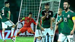 Raúl jiménez, memo Ochoa, Néstor Araujo y Miguel Layún durante el...