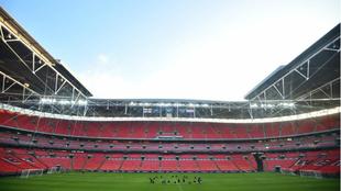 La selección de Croacia, en su entrenamiento en Wembley.