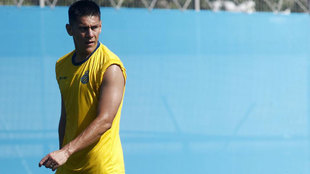 Óscar Duarte en los entrenamientos con el Espanyol