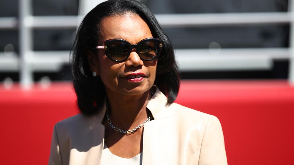 Condoleezza Rice durante un partido.