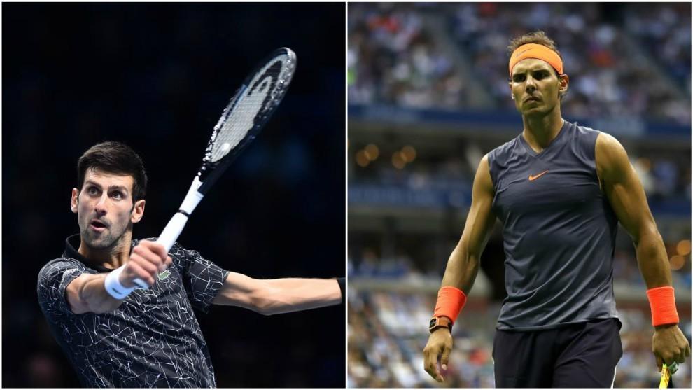 Djokovic y Nadal, durante un partido