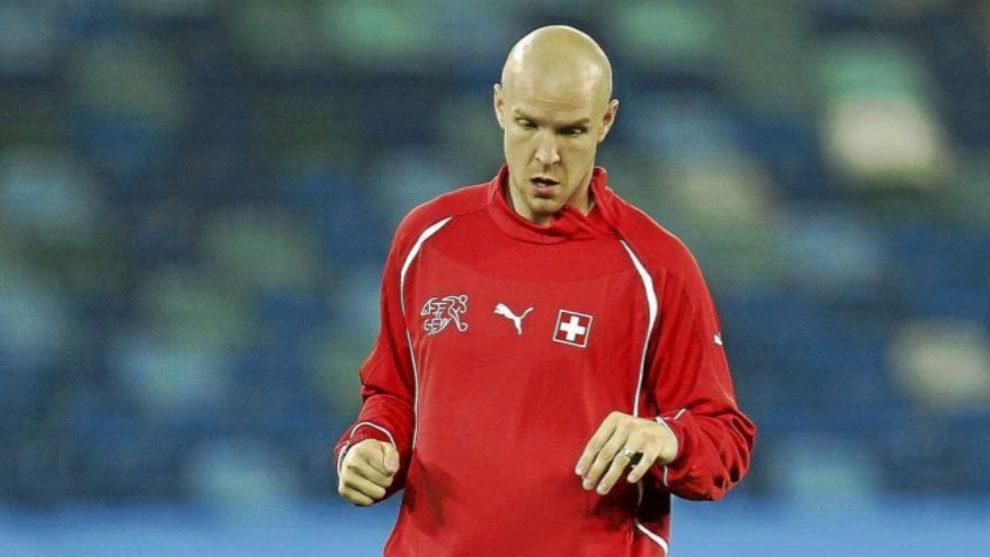Senderos en un entrenamiento con la selección Suiza.