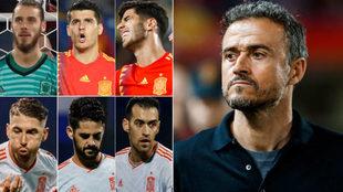 De Gea, Morata, Asensio, Ramos, Isco, Busquets and Luis Enrique.
