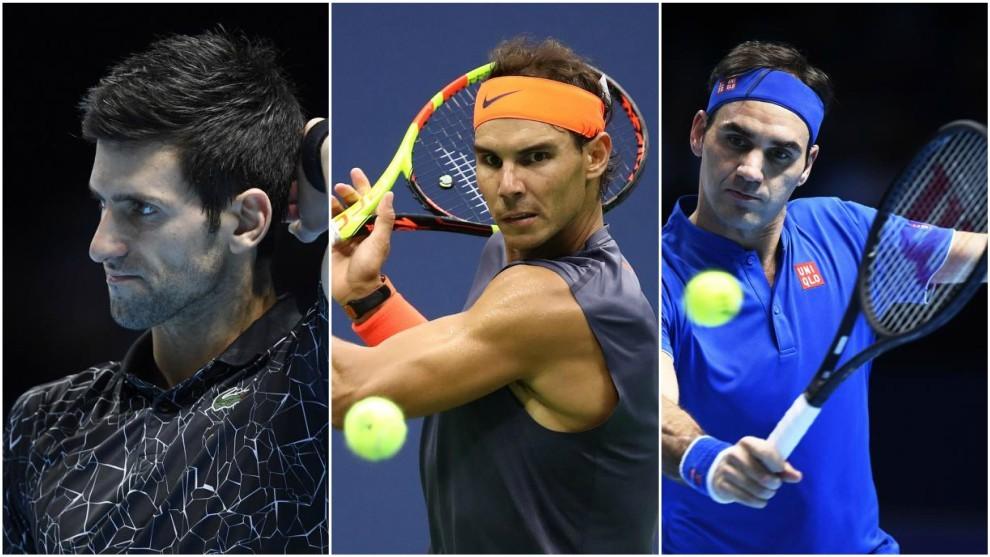 Djokovic, Nadal y Federer, en un partido