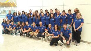 La selección española, el día de su salida rumbo a Australia.