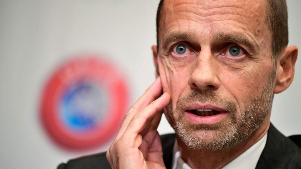 Aleksander Ceferin gives a press conference of the Union of European...