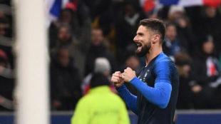 Giroud celebra su gol a Uruguay.