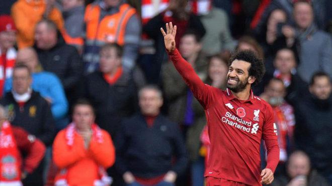 Salah festeja un gol con el Liverpool.