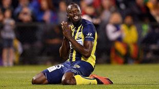 Usain Bolt, durante un partido con el Central Coast Mariners.