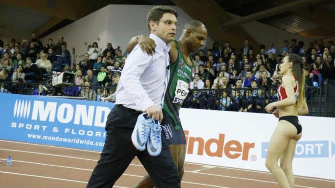 Yunier Pérez el día de su lesión en Madrid.