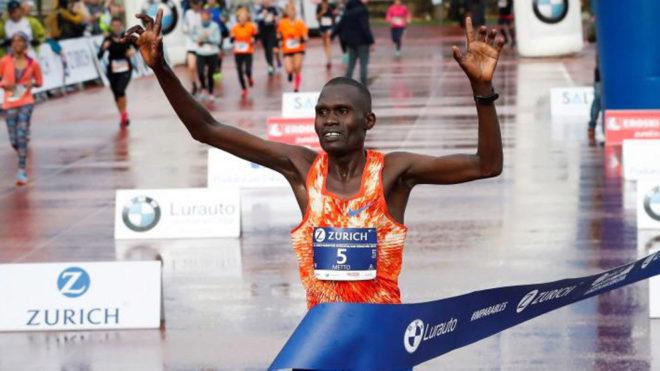David Kirpono, primero en cruzar la línea de meta del Maratón de San...