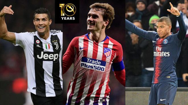Cristiano Ronaldo, Antoine Griezmann and Kylian Mbappe