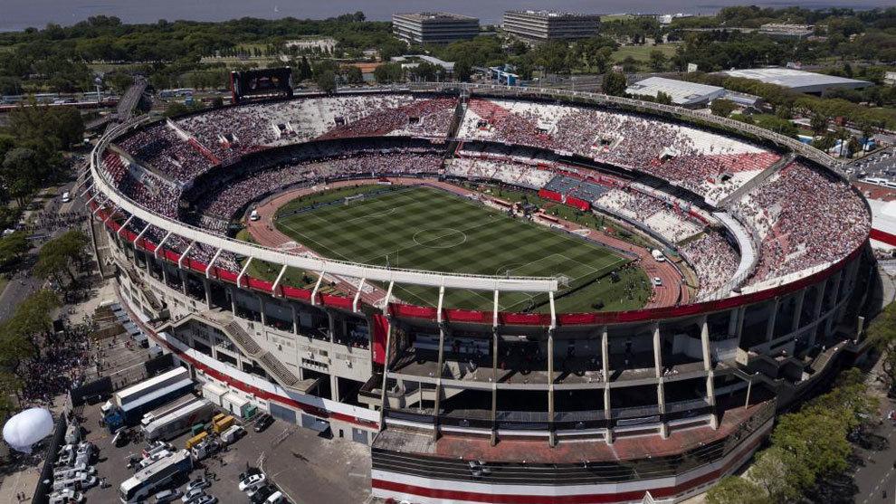 Vista aérea del estadio Monumental de Buenos Aires.