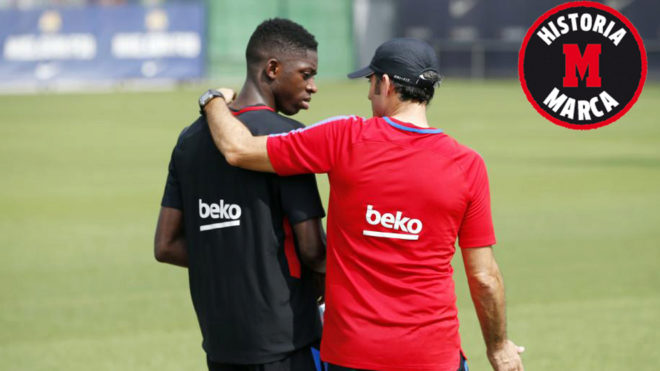 Valverde and Dembele at training