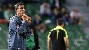 López Muñiz, durante el partido del Málaga en el Martínez Valero...