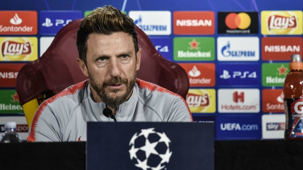Di Francesco attends a press conference on the eve of the Champions...