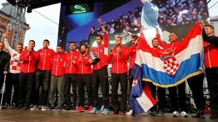 La selección croata, durante el recibimiento en Zagreb.
