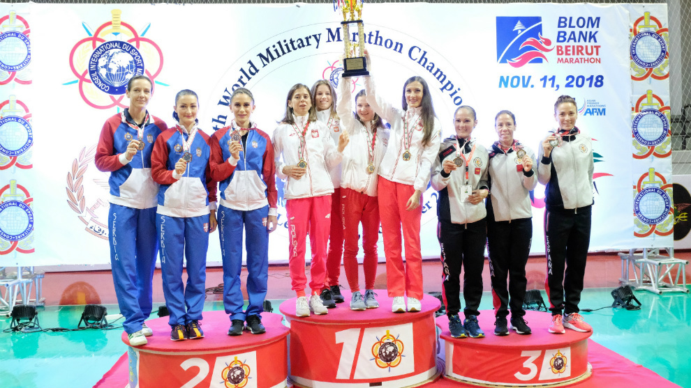 Podio por equipos femeninos del Campeonato del Mundo Militar:...