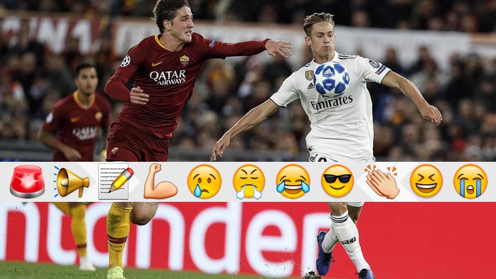 Marcos Llorente se lleva el balón ante Zaniolo