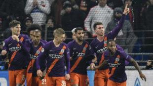 Laporte celebra su gol al Lyon.