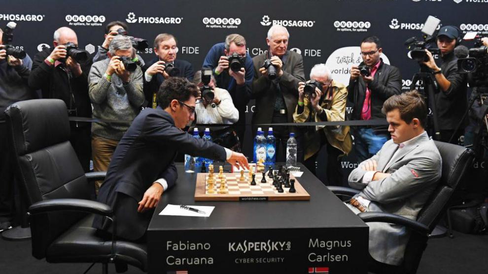 Partida del Mundial entre Caruana y Carlsen