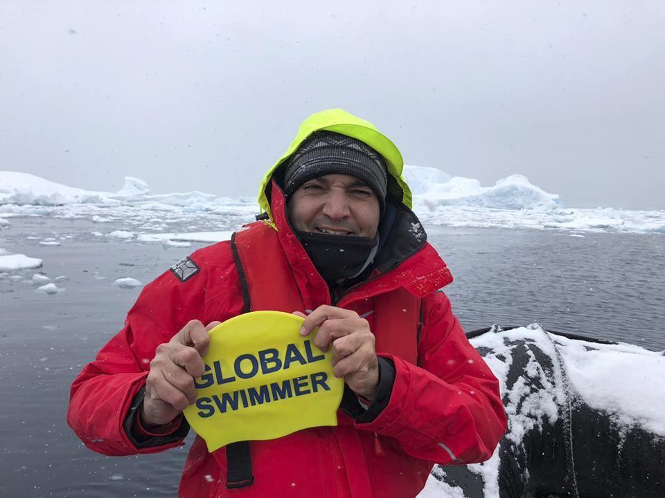 Diego López, durante la preparación del kilómetro helado en la...