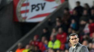 Ernesto Valverde, en el choque contra el PSV.