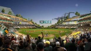 Bosquejo del nuevo parque de los Oakland Athletics.