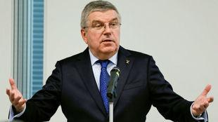 Thomas Bach, durante la asamblea de ACNO en Tokio