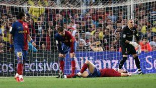 Alves, Piqué, Puyol y Valdés se lamentan del empate a tres de 2009.