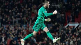 David de Gea celebra el gol del United contra el Young Boys.