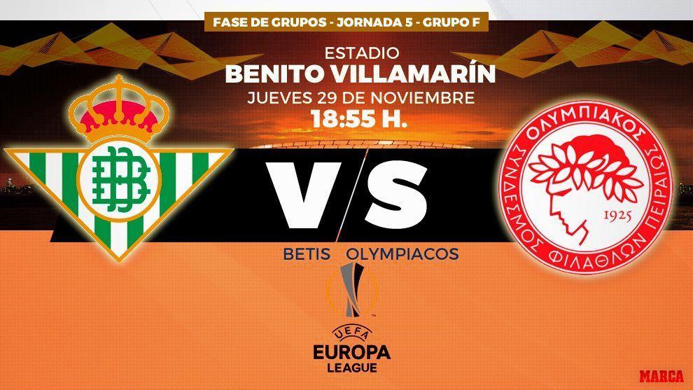 Imagen promocional del encuentro entre el Real Betis y el Olympiacos.
