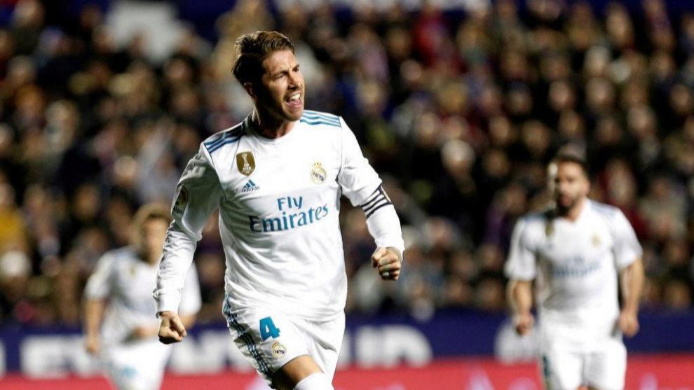 Sergio Ramos celebra uno de los tantos del Real Madrid