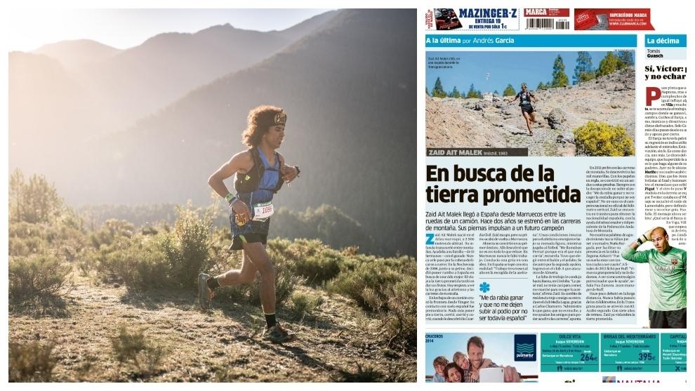 Zaid Ait Malek en Ultra Pirineu y la página de MARCA de 2014.