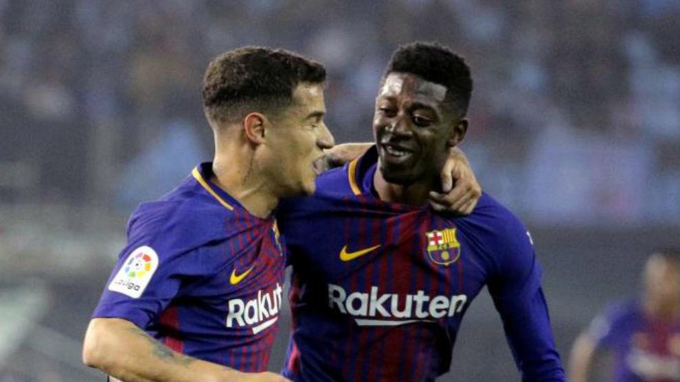 Coutinho celebrates a goal with Dembele in Vigo