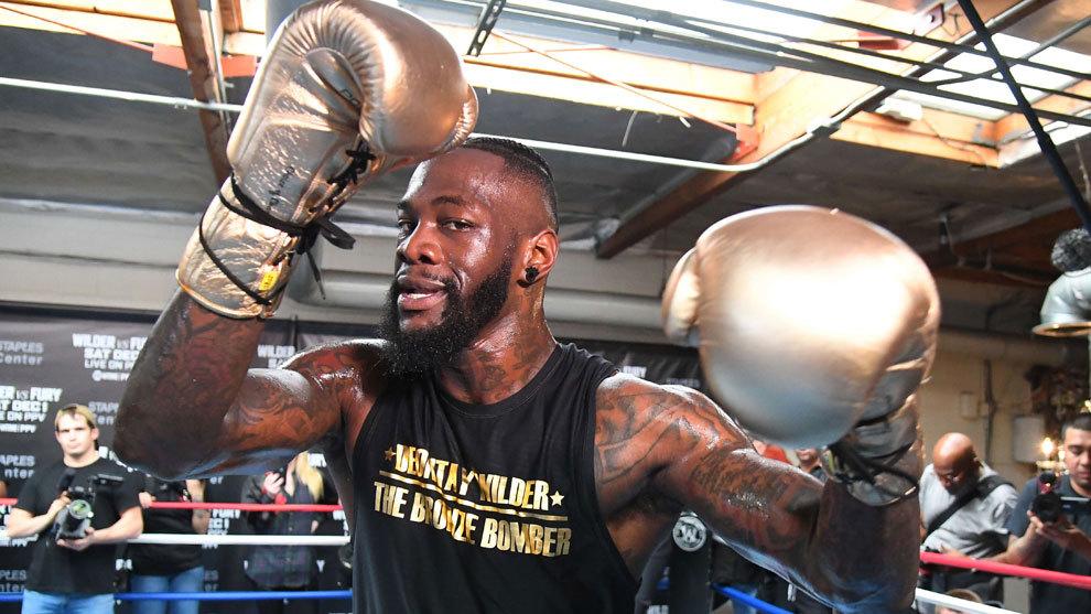 Deontay Wilder en un entrenamiento