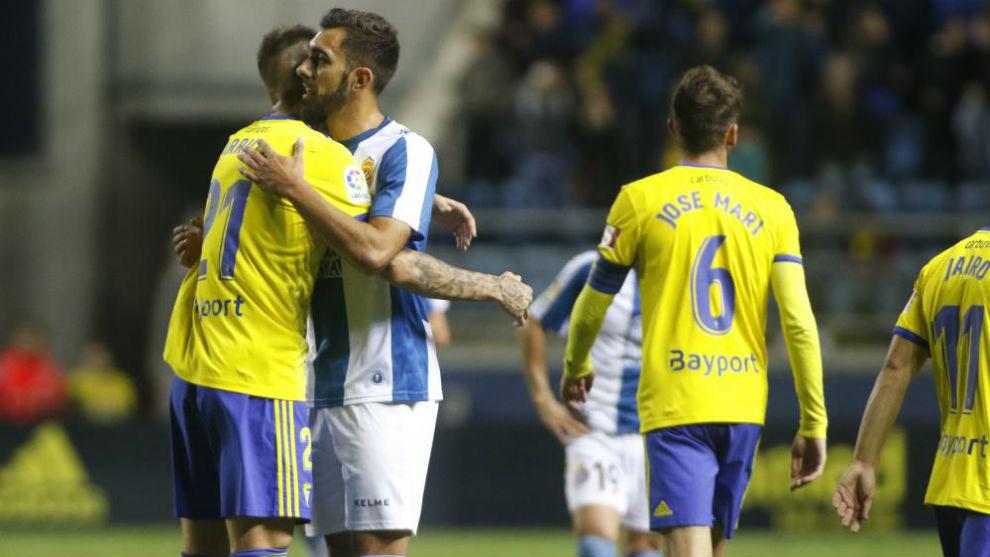Imagen del partido de ida entre el Cádiz y el Espanyol.