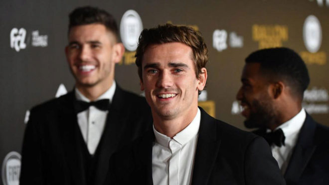 Griezmann with  Lucas and Lemar.